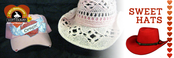 Red and pink Western cowgirl hats