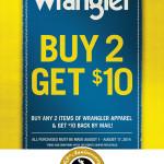 Buy 2 Get $10 Wrangler Rebate Promotion
