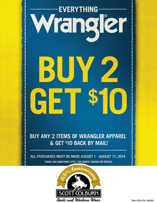 Buy 2 Get $10 Wrangler Rebate Promotion