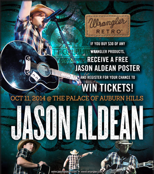 Win Meet-and-Greet concert tickets to see Jason Aldean on October 11th at the Palace of Auburn Hills