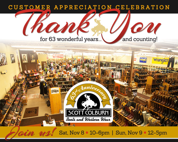 Customer Appreciation Day 2014: November 8-9 at Scott Colburn Boots & Western Wear