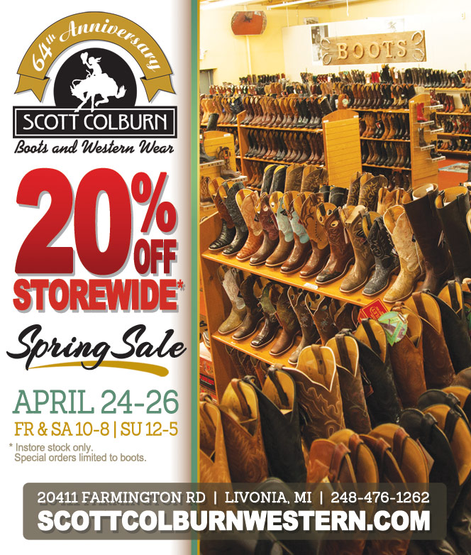 20% Off Storewide Spring Sale April 24-26 at Scott Colburn Boots & Western Wear