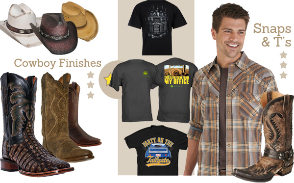 Men's Western Cowboy hats, leather boots, and shirts for WYCD Downtown Hoedown