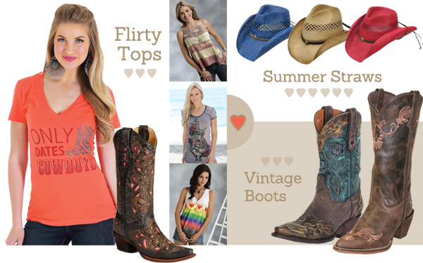 Women's Western Cowgirl shirts, hats, and leather boots for WYCD Downtown Hoedown