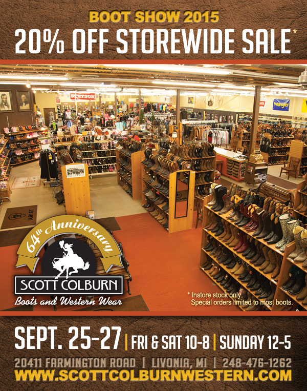 Scott Colburn Boots and Western Wear storewide sale September 25-27