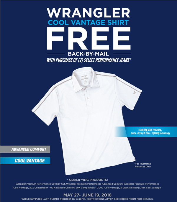 Gift by mail with purchase from Wrangler