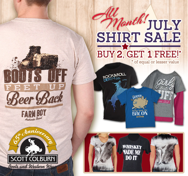 July Buy 2 Get 1 Shirt Sale at Scott Colburn Boots and Western Wear