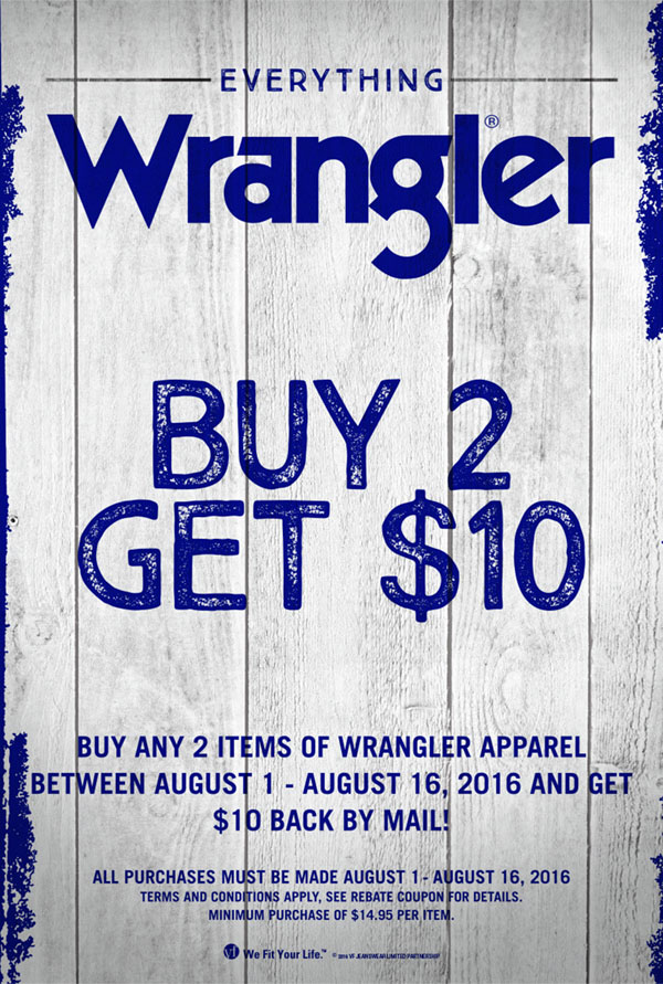Buy 2 Get $10 Rebate on Wranglers at Scott Colburn Boots and Western Wear