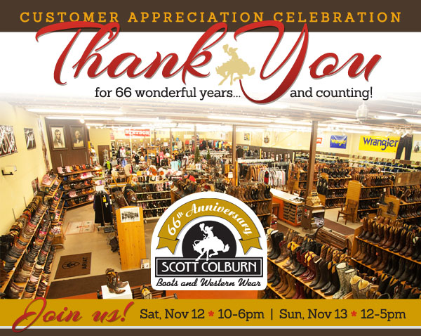 Customer Appreciation Weekend celebration at Scott Colburn Boots and Western Wear