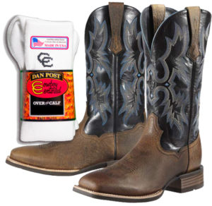 Receive a complimentary pair of Cowboy Certified Boot Socks with your purchase of Mens boots