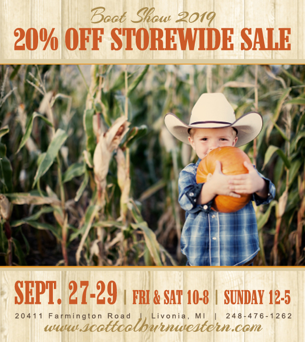 Scott Colburn Boots and Western Wear 2019 Boot Show 20% Off Storewide Sale