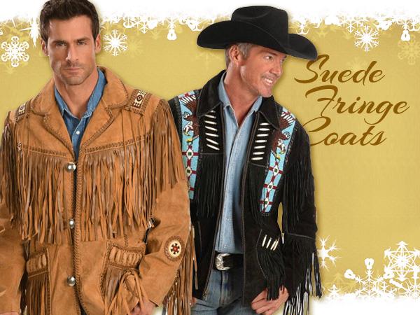 Mens suede fringe western jackets